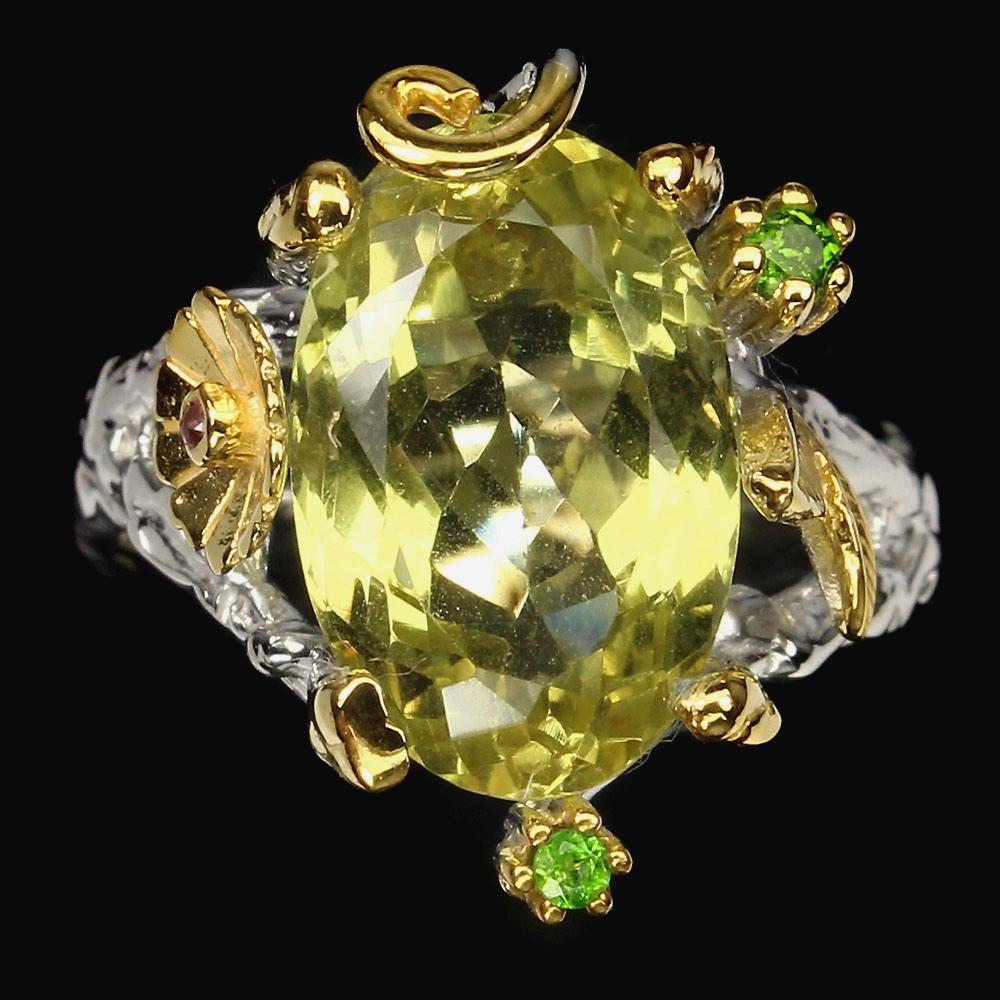 Серебряное Кольцо ручной работы с натуральным Лимонным Кварцем и Хромдиопсидами