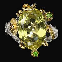 Серебряное Кольцо ручной работы с натуральным Лимонным Кварцем и Хромдиопсидами, фото 1