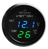 Термометр-вольтметр VST 706-5, син/зел., +USB