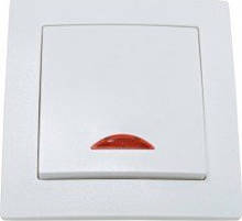 Выключатель Smartfortec HS011L одинарный с индикатором скрытого типа белый