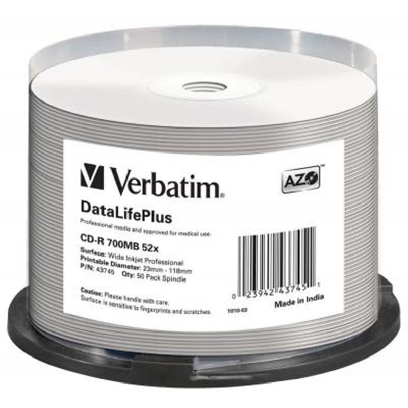 CD-R Verbatim (43745) 700MB 52x Wide Printable, 50 шт Spindle
