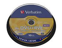 DVD+RW Verbatim (43488) 4.7GB 4x Cake, 10шт Silver