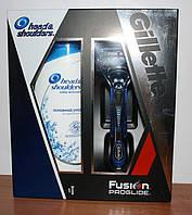 Станок Gillette Fusion proglide с одним сменным картриджем и подставкой + мужской шампунь 200 мл Head & Shoul