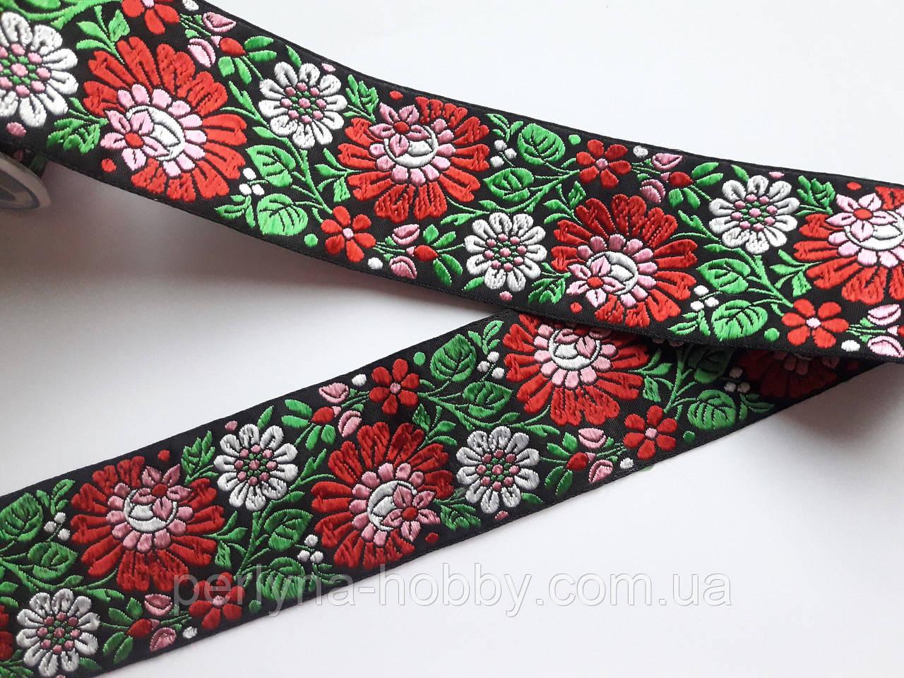 """Тесьма декоративная жаккардовая с орнаментом. Тасьма з вишивкою  """"Квіти на чорному"""" 6 см."""