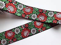 """Тасьма декоративна з орнаментом з вишивкою  """"Квіти на чорному"""" 6 см., фото 1"""