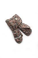 Детские рукавицы краги зимние для мальчика непромокаемые на меху (коричневые, схема) (арт.03-00521)
