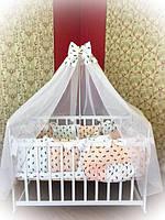 Детское постельное белье в кроватку ТМ Bonna Elite Бело-персиковое в бантик