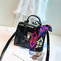 Маленькая женская сумка HB Kelly с лентой и замочком черная