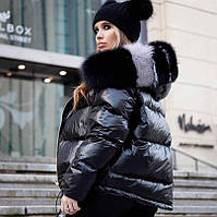 Женская куртка на синтепоне с натуральным мехом двухсторонняя