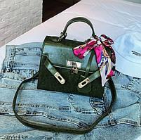 Маленькая женская сумка HB Kelly с лентой и замочком зеленая