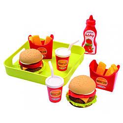 """Набор продуктов с подносом """"Гамбургер"""", 8 акс, Ecoiffier 3+ (000957)"""