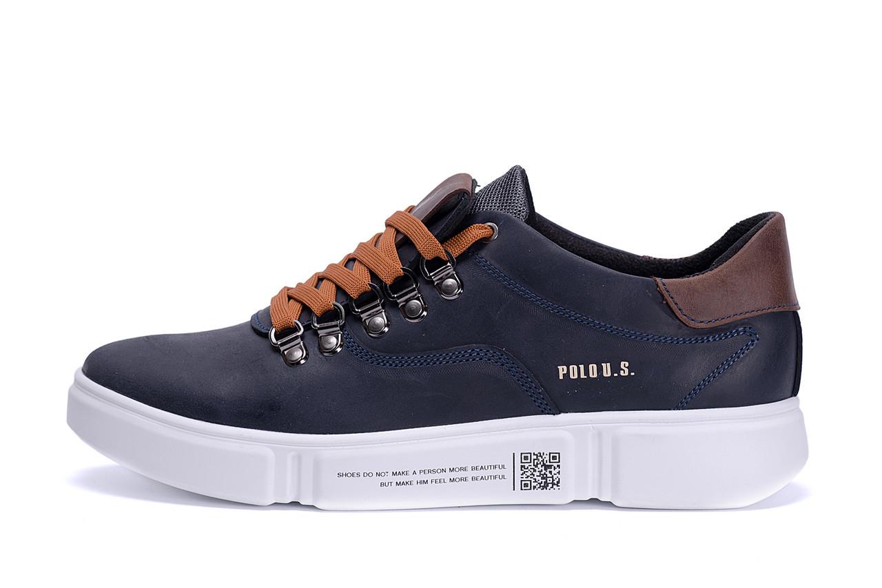 Мужские кожаные кроссовки Polo Blue Trend (реплика)