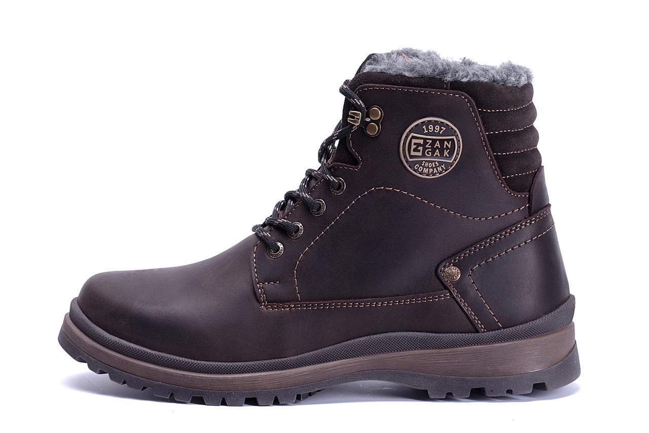 Мужские зимние кожаные ботинки ZG Clasic Brown Style