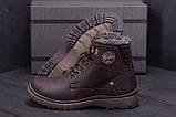 Мужские зимние кожаные ботинки ZG Clasic Brown Style, фото 8