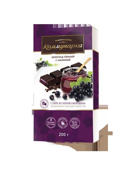 Шоколад «Коммунарка» горький с начинкой с пюре из черной смородины 200г из Беларуси