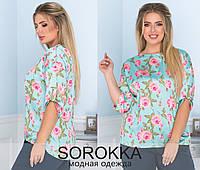 Жіноча блузка великого розміру з костюмного крепу в квітковий принт (48-58), фото 1