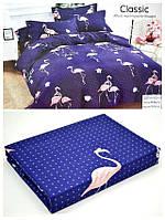 Байковый  комплект постельного белья Байка ( фланель)   Фламинго на темном