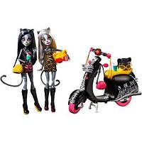 Набор кукол Монстер Хай, Monster High Werecats Meowlody and Purrsephone with Scooter, Пурсефона и Мяулодия.