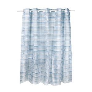 Плотная шторка для ванны и душа тканевая цвет синий белый Q-tapTessoroPA85826200х200 см