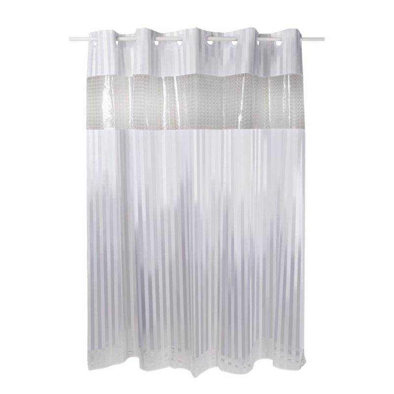 Плотная шторка для ванны и душа тканевая цвет белый Q-tap Tessoro PA05115 180х200 см