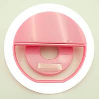 Кольцо для селфи с аккумулятором зарядка от USB 5 Вт 39 Led Selfie Ring light Розовый