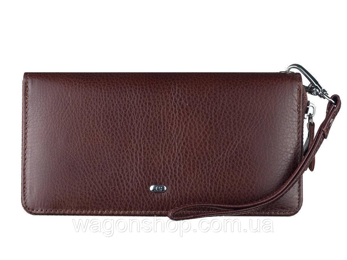 Женский кожаный кошелек кофейного цвета на молнии с ремешком на запястье - ST Leather