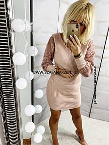 Модное женское платье вязка- гипюр