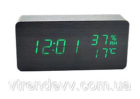 Часы электронные настольные с датчиком влажности LED VST-862S черные