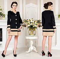 Женское демисезонное Пальто из кашемира F 677677  Черный-Беж