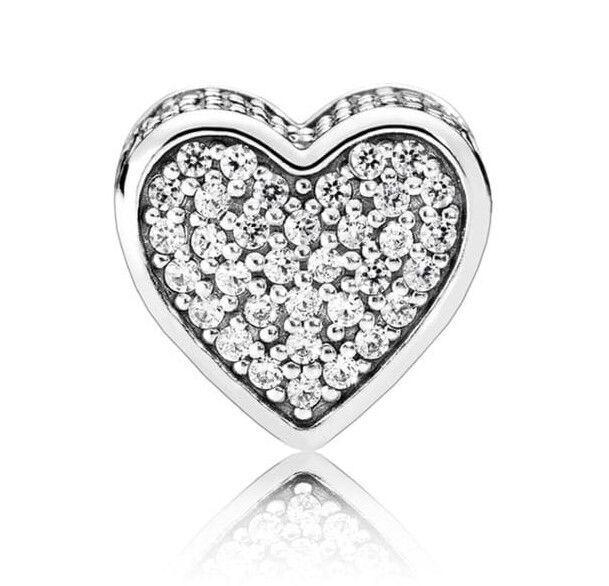 """Срібний Шарм Намистина Пандора """"Серце Діамант"""""""