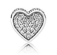 """Срібний Шарм Намистина Пандора """"Серце Діамант"""", фото 1"""