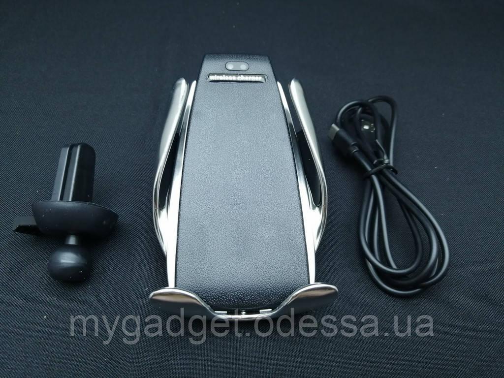 Беспроводное зарядное устройство + сенсорный автодержатель Smart Sensor S5 Черный