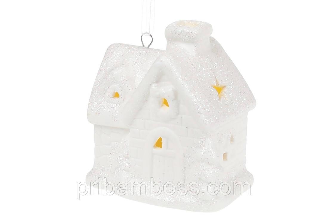Новогоднее украшение с LED подсветкой Домик, 8см, цвет - матовый белый
