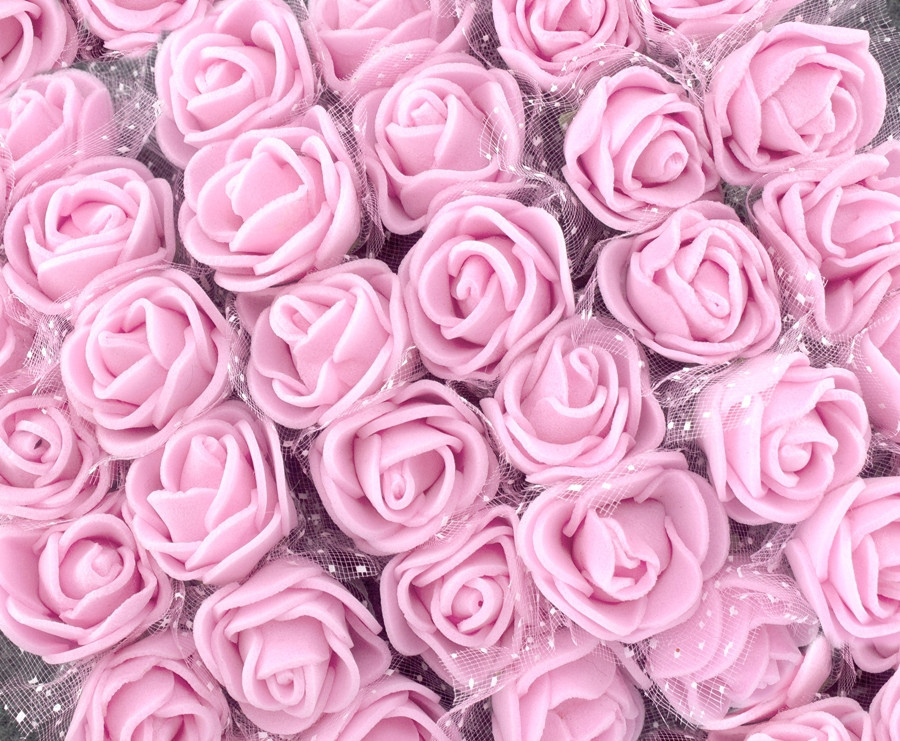 ОПТ Розочки из фоамирана с фатином, диаметр 2см (цена за пачку 144шт) цвет- Нежно розовый