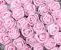ОПТ Розочки из фоамирана с фатином, диаметр 2см (цена за пачку 144шт) цвет- Нежно розовый, фото 1