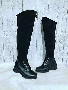 Комбинированные ботфорты чёрного цвета на низком ходу 36-40 р