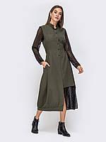 Вечернее платье хаки с фигурным гипюром 44 46 48 50