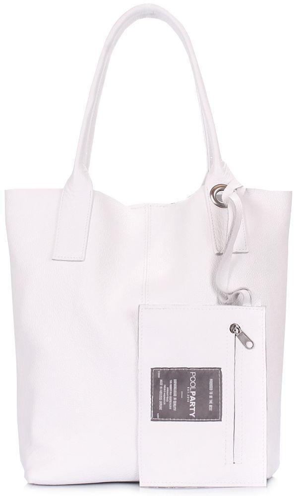 Белая кожаная сумка Poolparty Podium