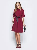 Платье вечернее бордовое яркое рукав до локтя 44-46 48-50