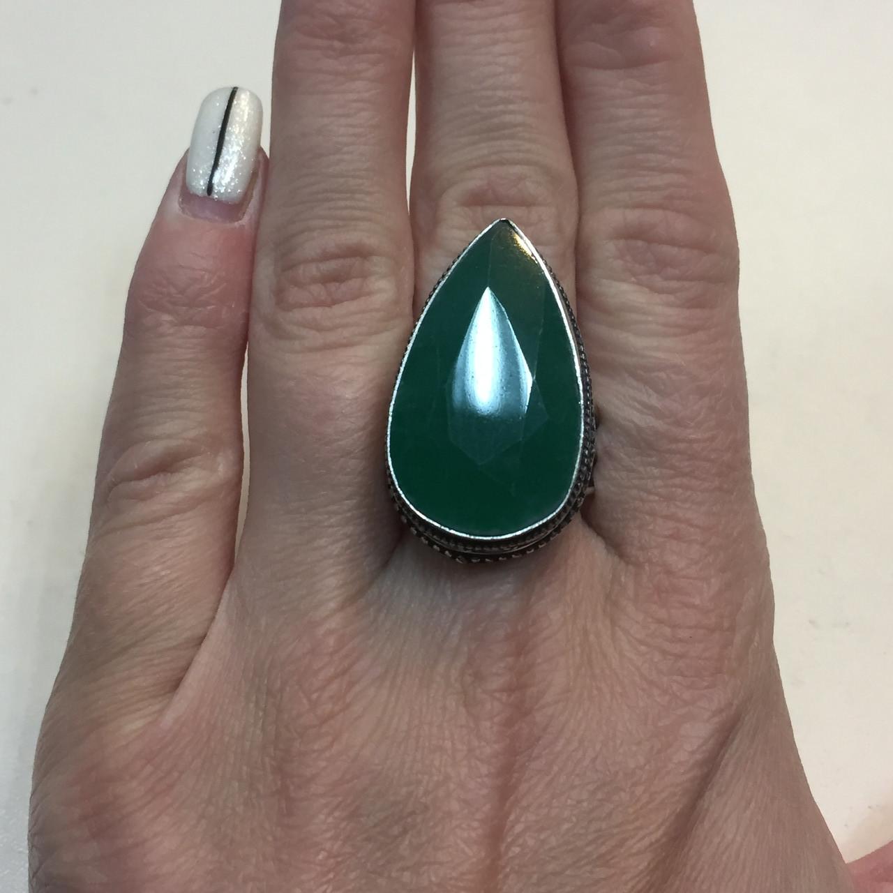 Изумруд кольцо капля с камнем изумруд в серебре. Размер19,7. Кольцо с изумрудом Индия