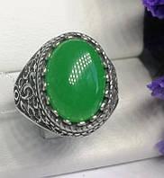 Серебряный перстень с большим камнем хризопраз Мелодия