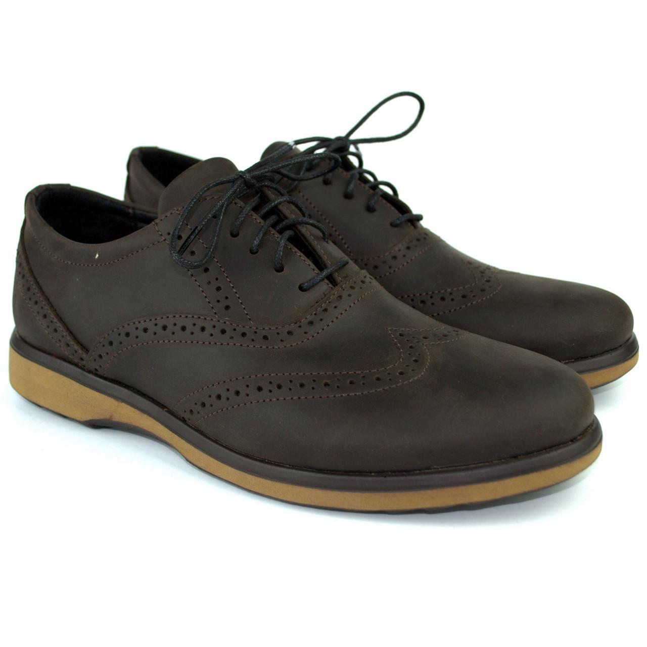 Коричневые туфли мужские оксфорды броги кожаные Rosso Avangard Rizzi Brown демисезонные