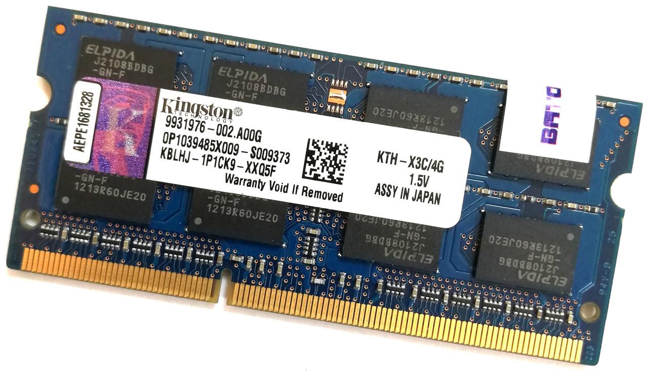 Оперативная память для ноутбука Kingston SODIMM DDR3 4Gb 1600MHz 12800s CL11 (KTH-X3C/4G) Б/У