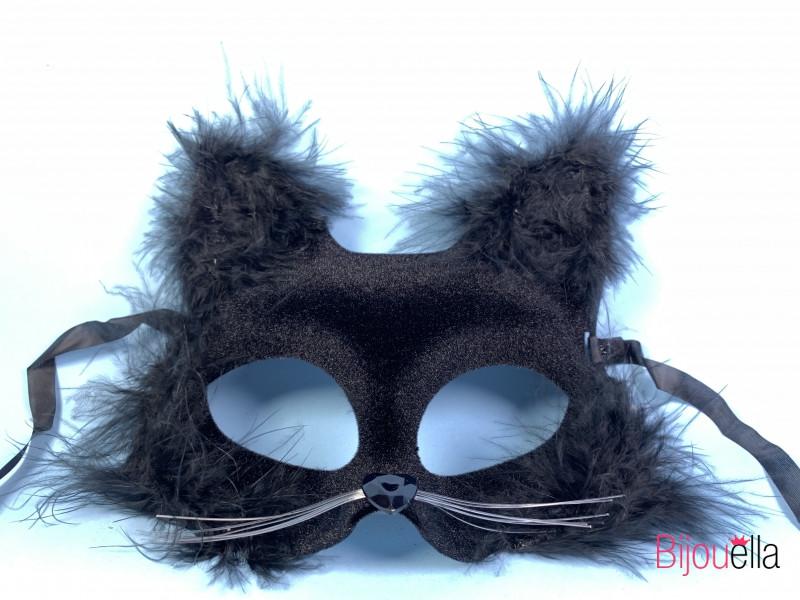 Маска бархатная Кошка с пухом 16 см 15 см на вечеринку карнавал