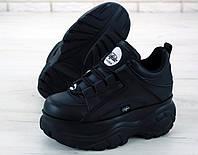 Кроссовки Buffalo London женские, черные, в стиле Буфало. Натуральная кожа, прошиты. Код KD-11955