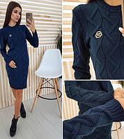 """Модное теплое платье вязаное женское """"Рейчел"""" - джинс, светло-серый, молоко, пудра, синий, бежевый, бордо"""