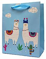 """Подарочные пакеты """"Ламы голубые"""". Размер: 31*42*12см."""