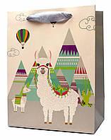 "Подарочные пакеты ""Ламы белые"". Размер: 31*42*12см."