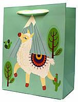 """Подарочные пакеты """"Ламы зелёные"""". Размер: 31*42*12см."""