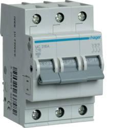 Автоматичний вимикач 16 А, 3п, С, 6 kA, hager, Франція, фото 2